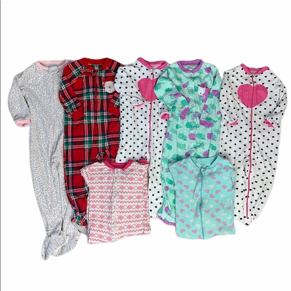 Baby Girls Sleepers Lot 18-24 Month 7 Item Lot EUC